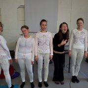 Anatomy lecturer Felicity Spencer with some students